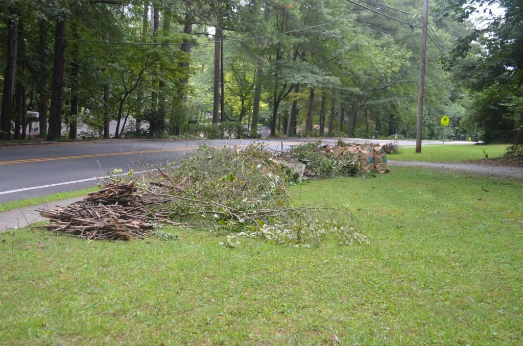 Debris at curb